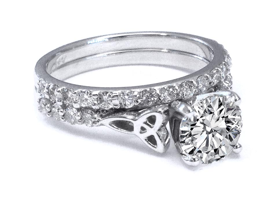 Celtic Knot Diamond Engagement Ring with Diamond Accents & Matching Wedding Band in 14K White Gold