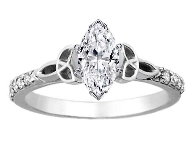 Marquise Celtic Knot Engagement Ring with Diamond Accents in 14K White Gold