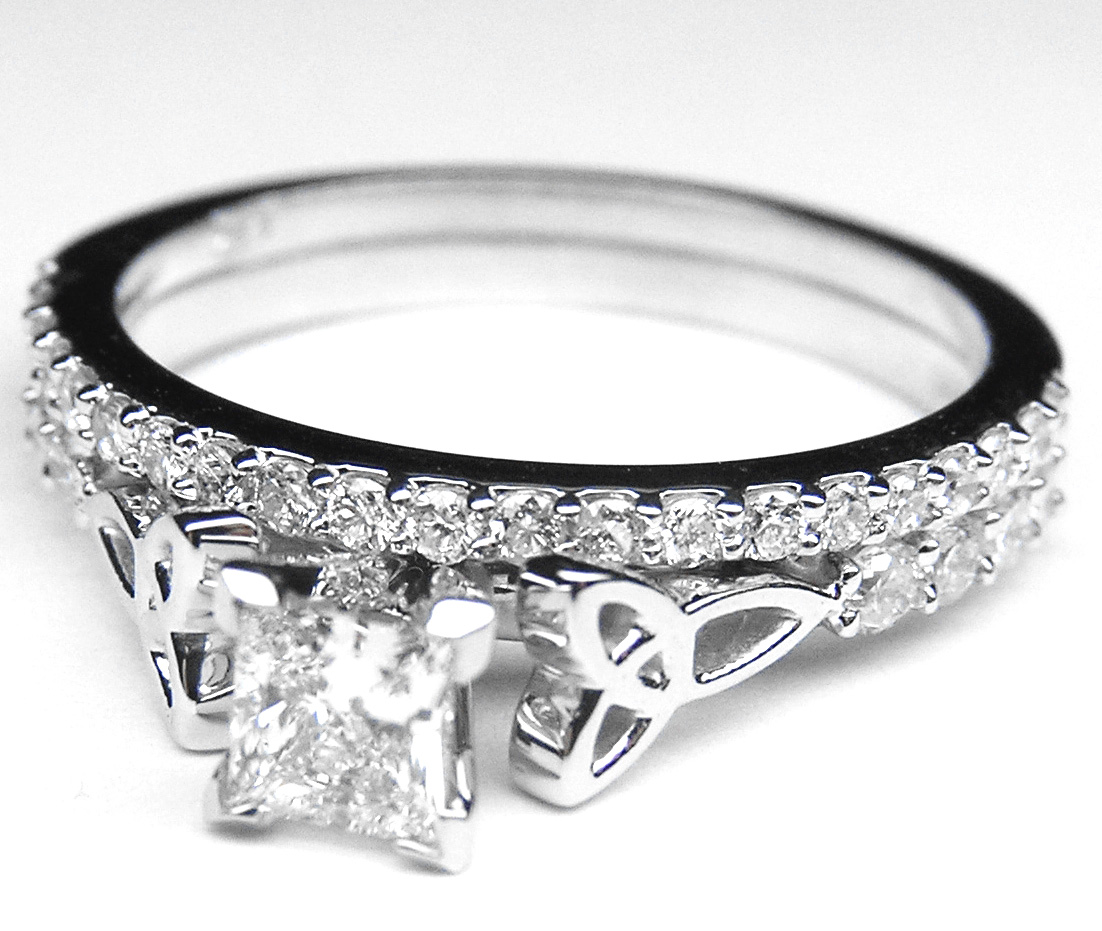 engagement ring princess cut celtic knot