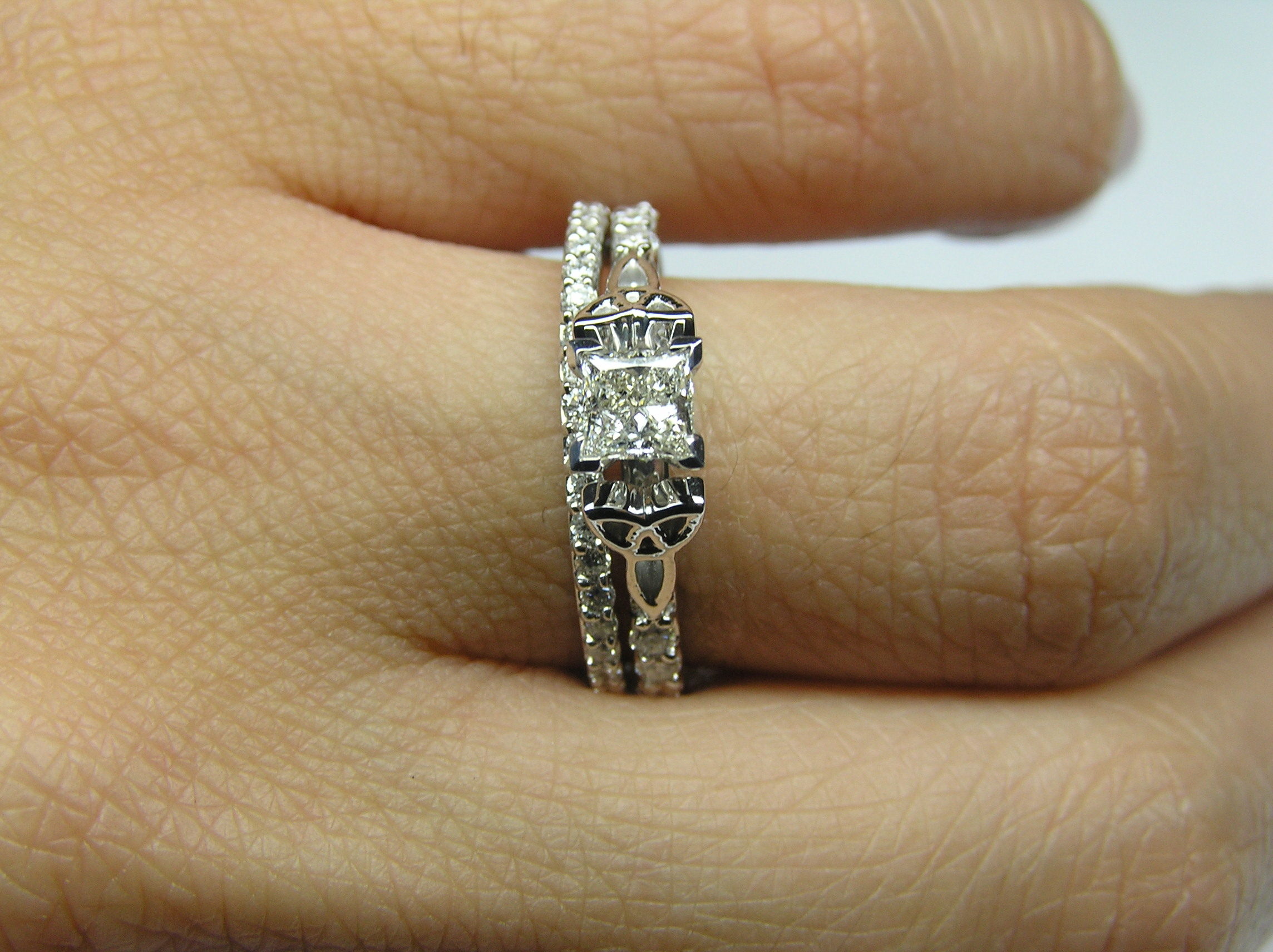 Princess Diamond Cut Celtic Knot Engagement Ring with Diamond Accents & Matching Wedding Band in 14K White Gold