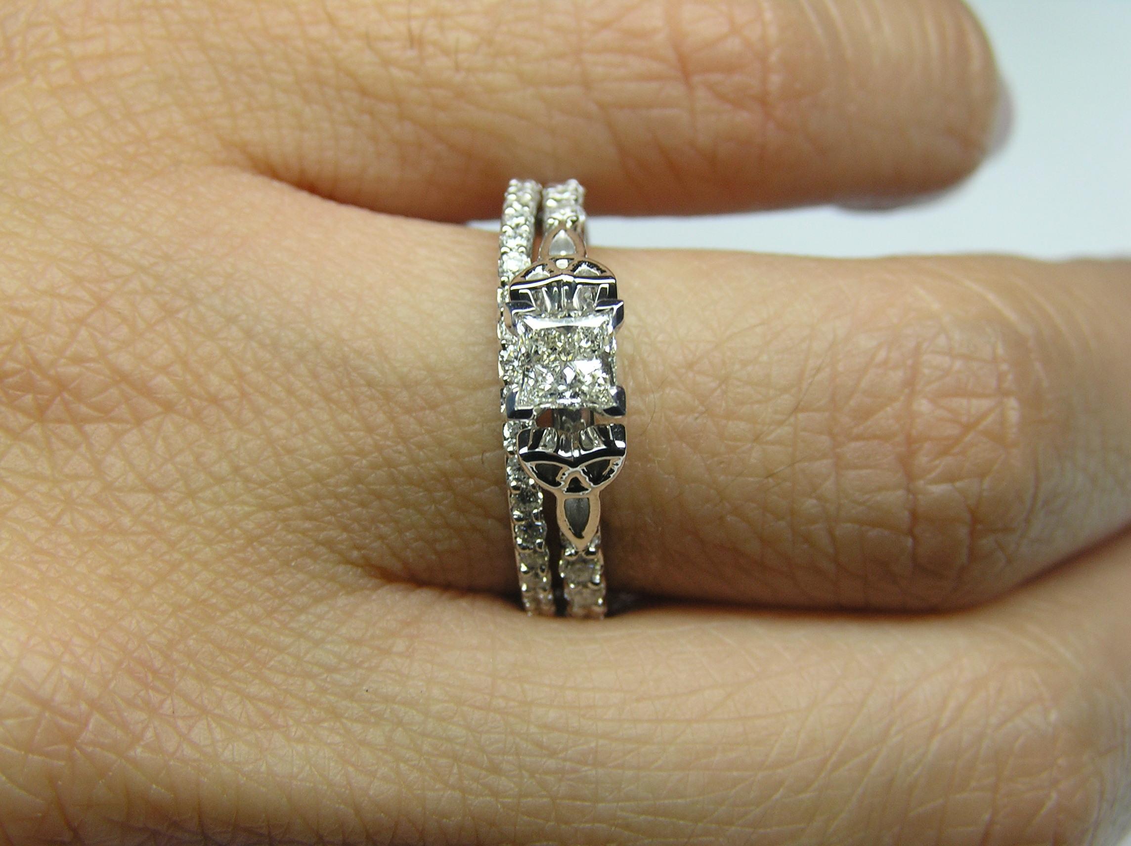 Beautiful Princess Cut Engagement Ring with Matching Wedding Band