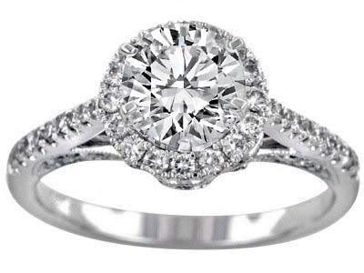 Edwardian Crown Halo Diamond  Engagement Ring in 14k White Gold