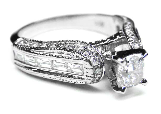 Cushion Diamond Vintage Horseshoe Engagement Ring Baguette Diamonds Milligrained band , 0.85 tcw. In 14K White Gold