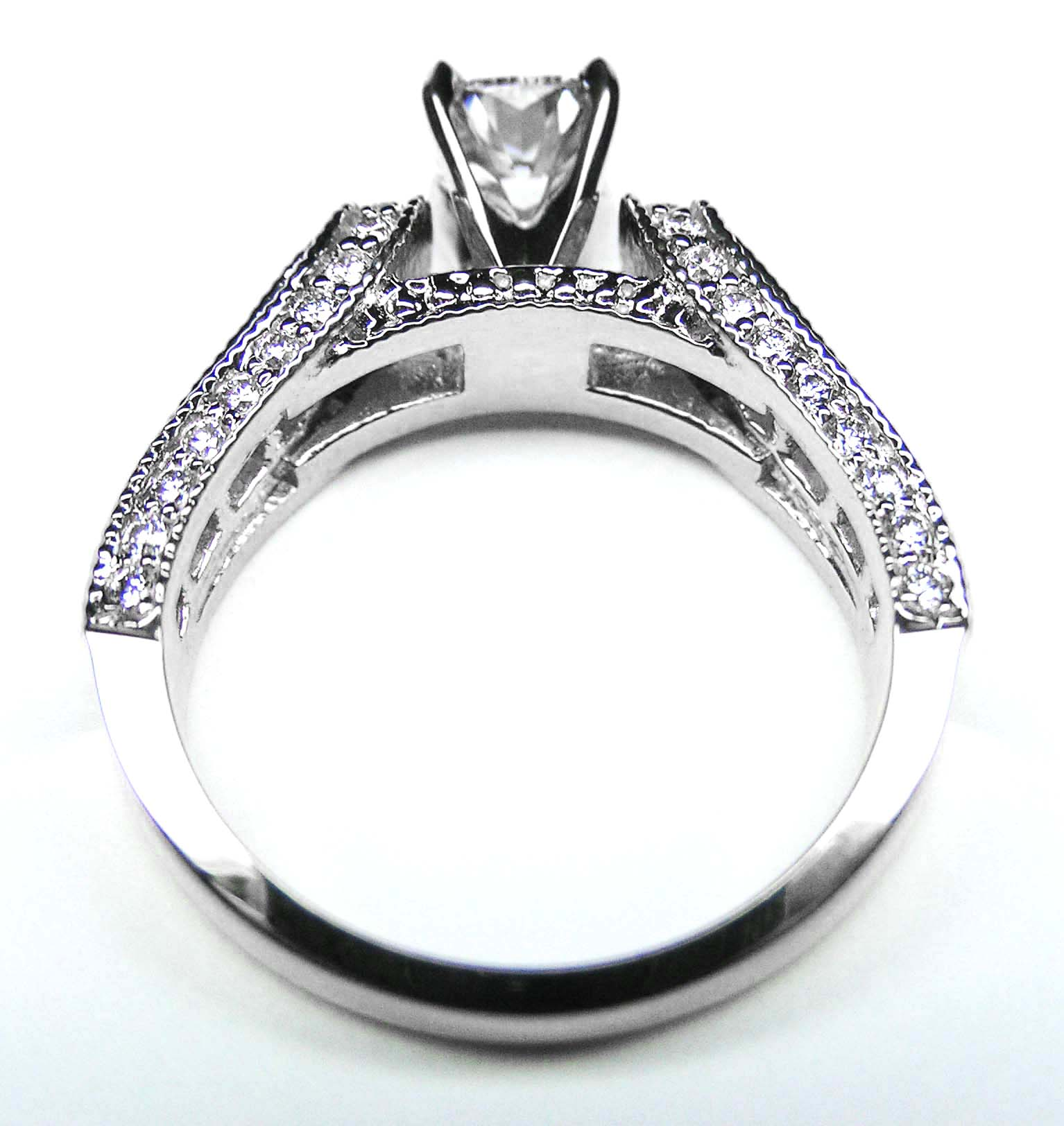 in 14k cushion diamond vintage horseshoe engagement ring baguette diamonds milligrained band 085 tcw - Horseshoe Wedding Rings