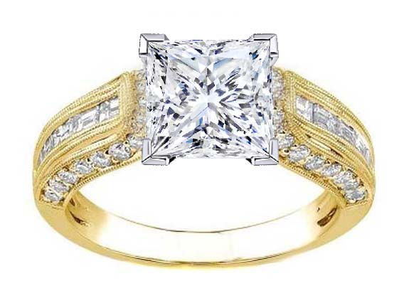 Princess Diamond Vintage Horseshoe Engagement Ring Baguette Diamonds Milligrained band , 0.85 tcw. In 14K Yellow Gold