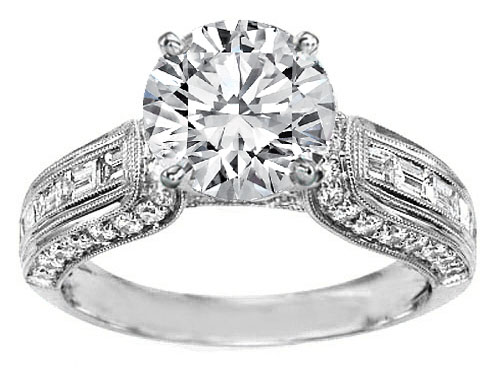 Vintage Horseshoe Diamond Engagement Ring Baguette Diamonds Milligrained band , 0.85 tcw. In 14K White Gold