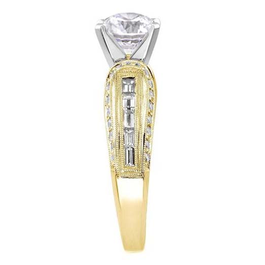 Vintage Horseshoe Diamond Engagement Ring Baguette Diamonds Milligrained band , 0.85 tcw. In 14K Yellow Gold