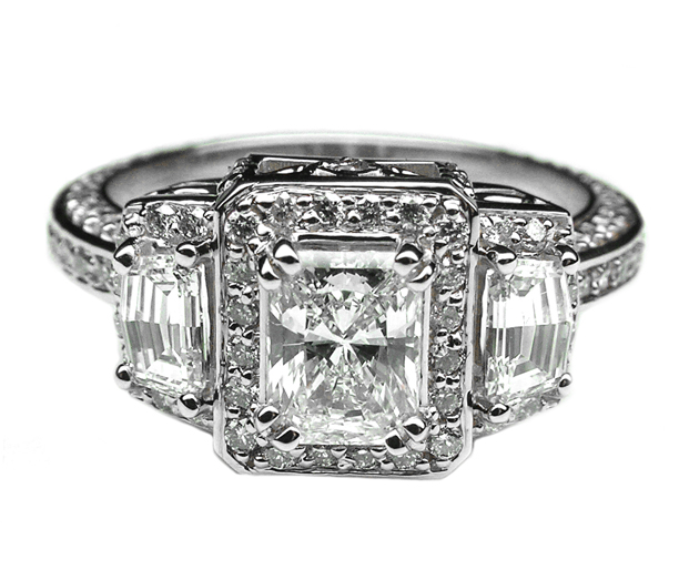 Radiant Diamond Vintage Design Halo Engagement Ring Cadillac trapezoids side stones