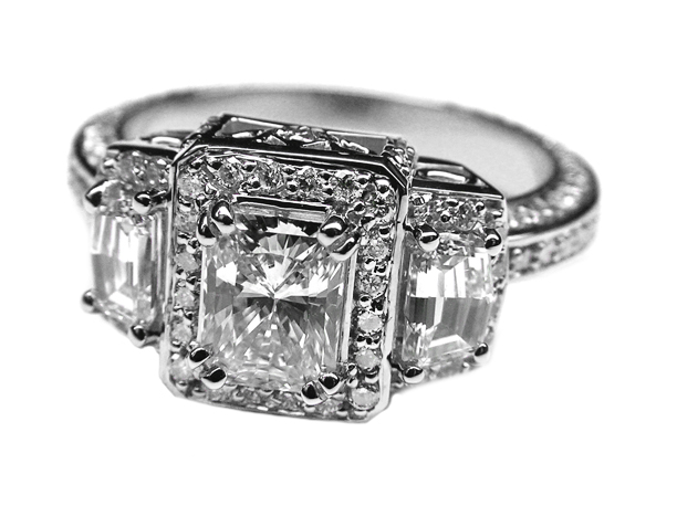 Radiant Diamond Vintage Design Halo Engagement Ring Cadillac trapezoids side stones in 14K White Gold