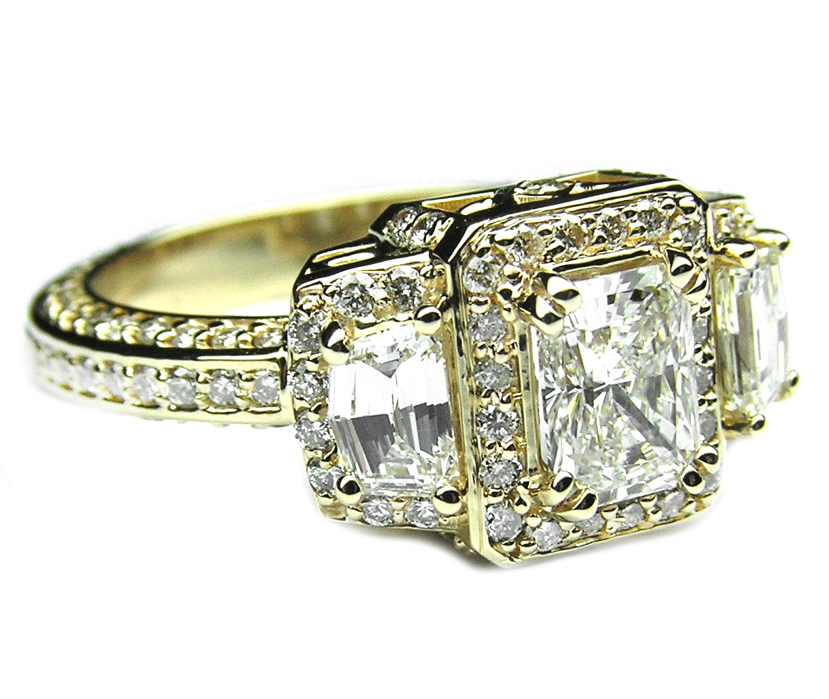 Radiant Diamond Vintage Design Halo Engagement Ring Cadillac trapezoids  side stones in 14K yellow Gold ...