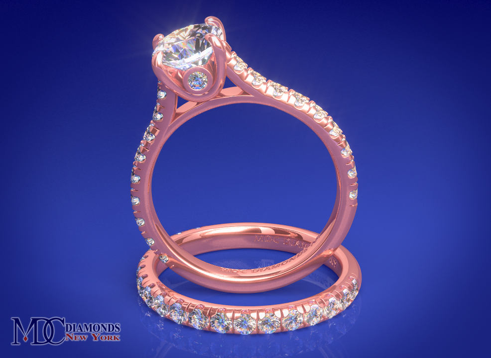 Surprise Diamond Rose Gold Engagement Ring 0.45 tcw