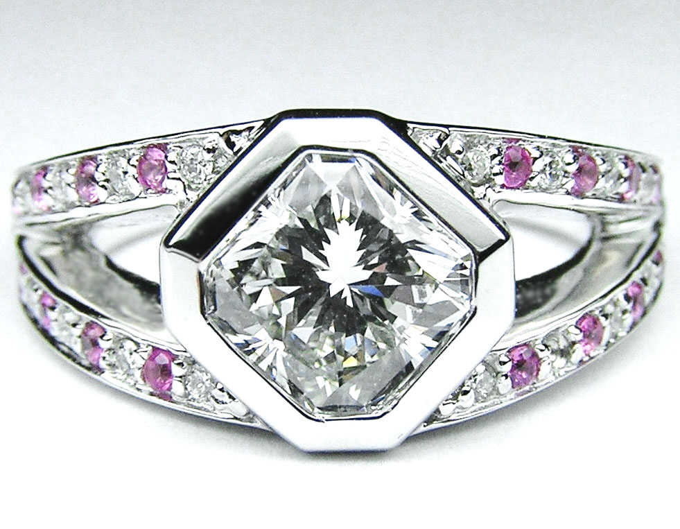 Diagonal Engagement Ring Pink Sapphire accents