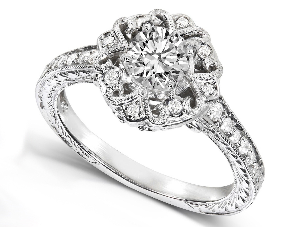 Edwardian Ribbon Diamond Engagement Ring in 14K White Gold