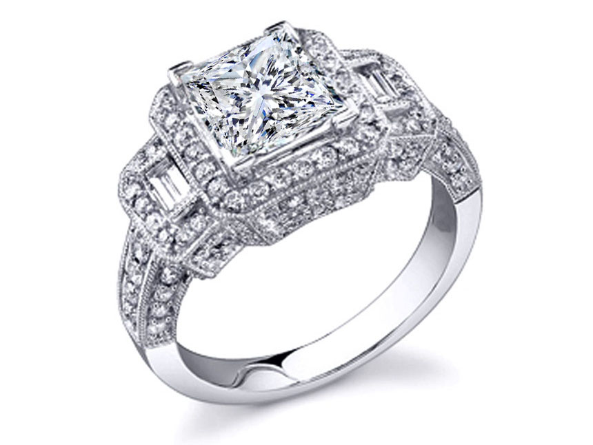 Vintage Style Three Stone Princess & Baguette Cut Diamond Engagement Ring in 14K White Gold