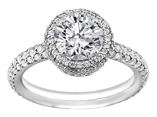 Double Halo Pave Vintage Engagement Ring 0.86 tcw in 14K White Gold