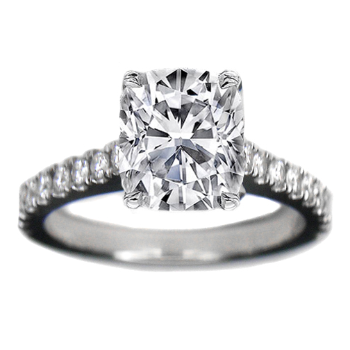 Engagement Ring Cushion Cut Cathedral Prong Set Diamond Engagement Ring 0 36