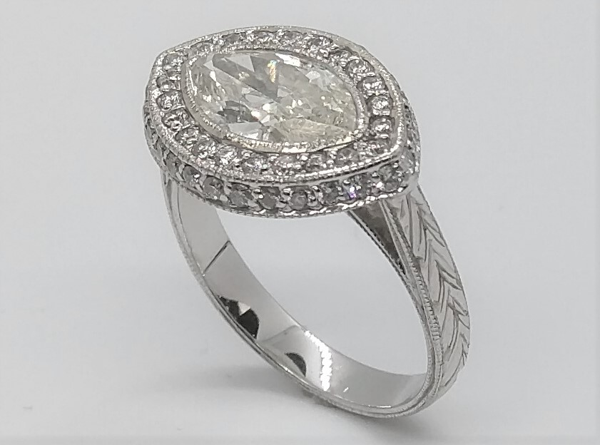 Marquise Diamond Horizontal Halo Pave Engraved Band