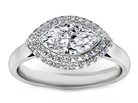 Marquise Diamond Horizontal Halo pave 0.50 tcw. In 14k white gold