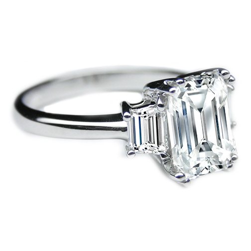 Emerald Cut Diamond Trapezoid Engagement Ring in 14K White Gold
