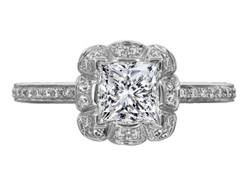 Edwardian Floral Halo Princess Diamond Engagement Ring Platinum