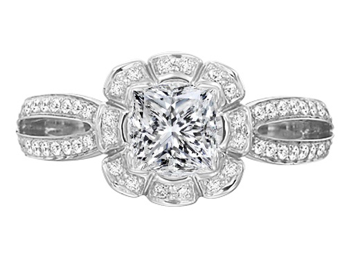 Edwardian Floral Halo Split Band Diamond Engagement Ring   in 14K White gold