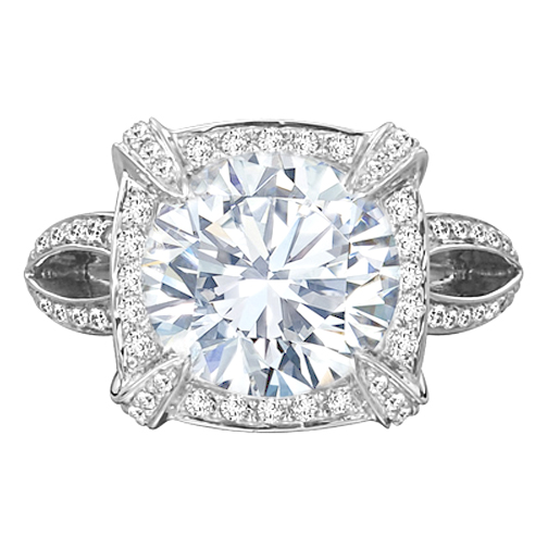 Edwardian Diamond Halo Split Band Engagement Ring in 14K White gold