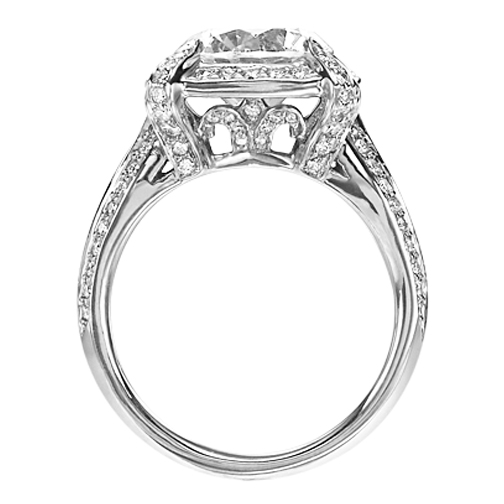 Edwardian Diamond Halo Split Band Engagement Ring