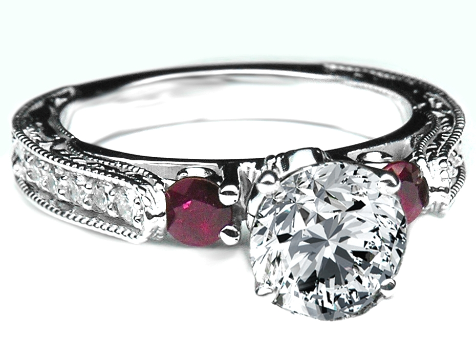 Diamond Filigree Engagement Ring, Cathedral Engraved Band with Rubies, White Gold