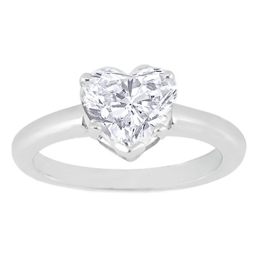Heart Shape Diamond Solitaire Engagement Ring in 14K White Gold
