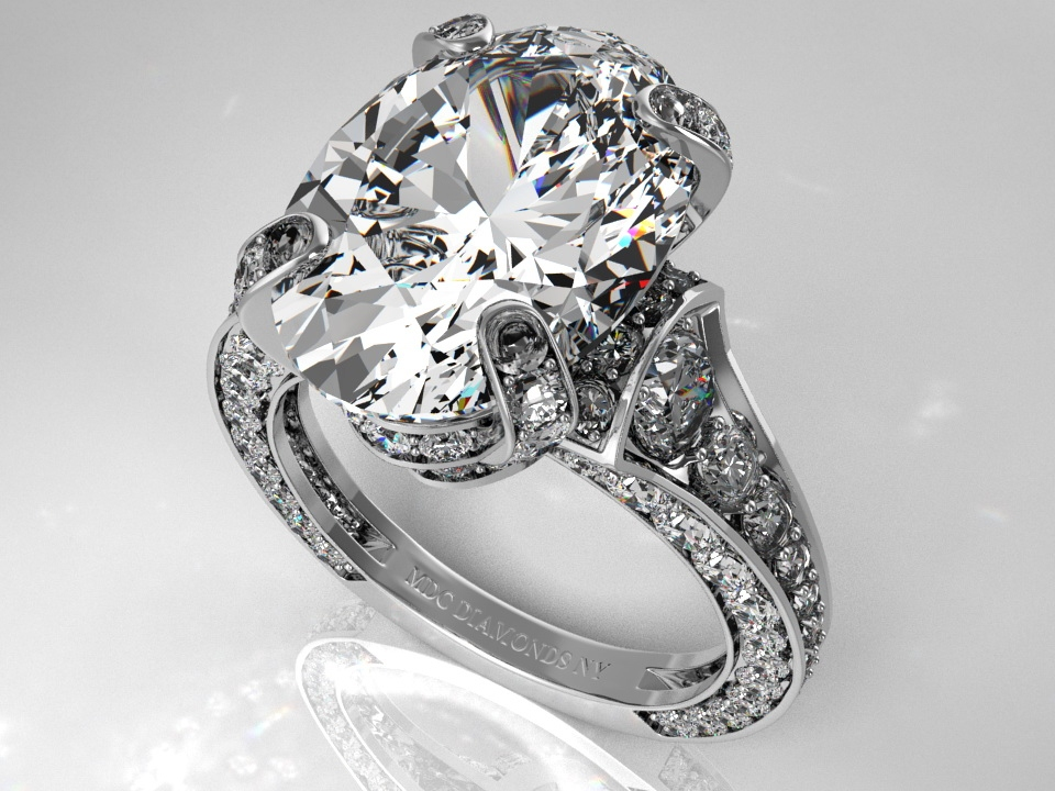 Engagement Ring Large Oval Diamond Cathedral Graduated Pave