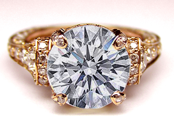 Engagement Ring Cathedral Graduated Pave Diamond Engagement