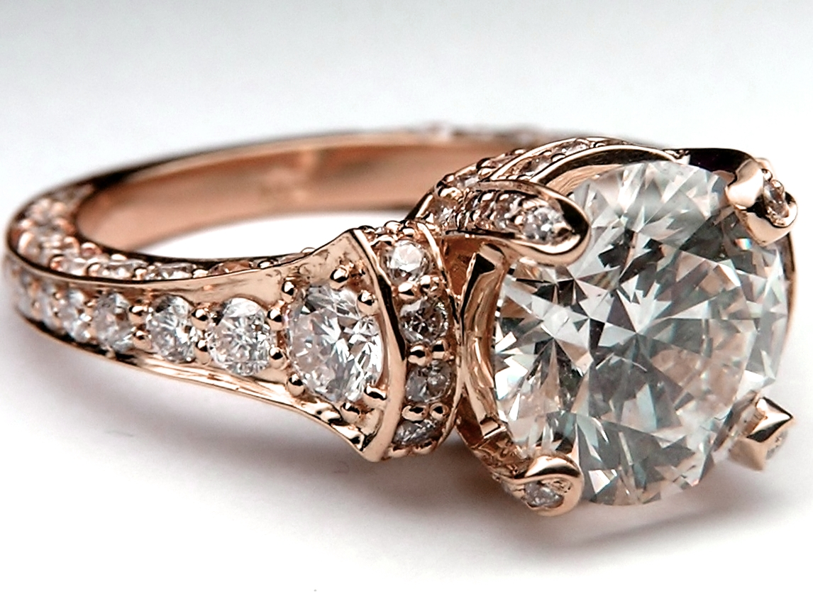 Large Cathedral Graduated Pave Diamond Engagement Ring 1.25 tcw. In 14K Rose Gold