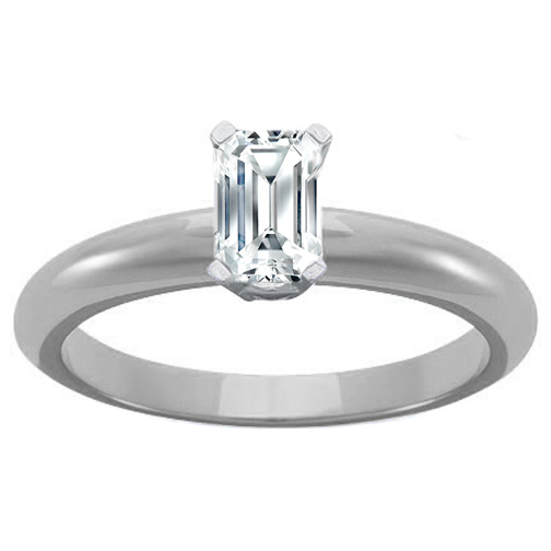 Engagement Ring Platinum Four Claw Classic Solitaire Emerald cut Diamond Eng