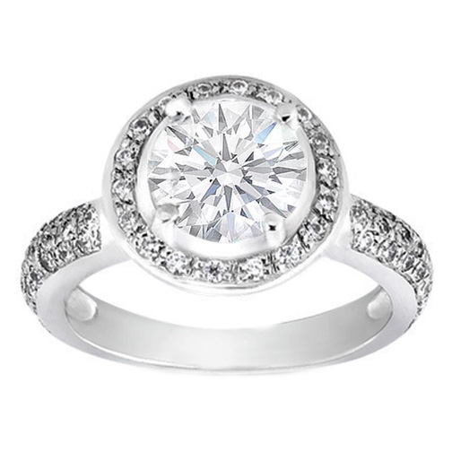 Filigree Diamond Halo Engagement Ring 0.43 tcw. In 14K White Gold