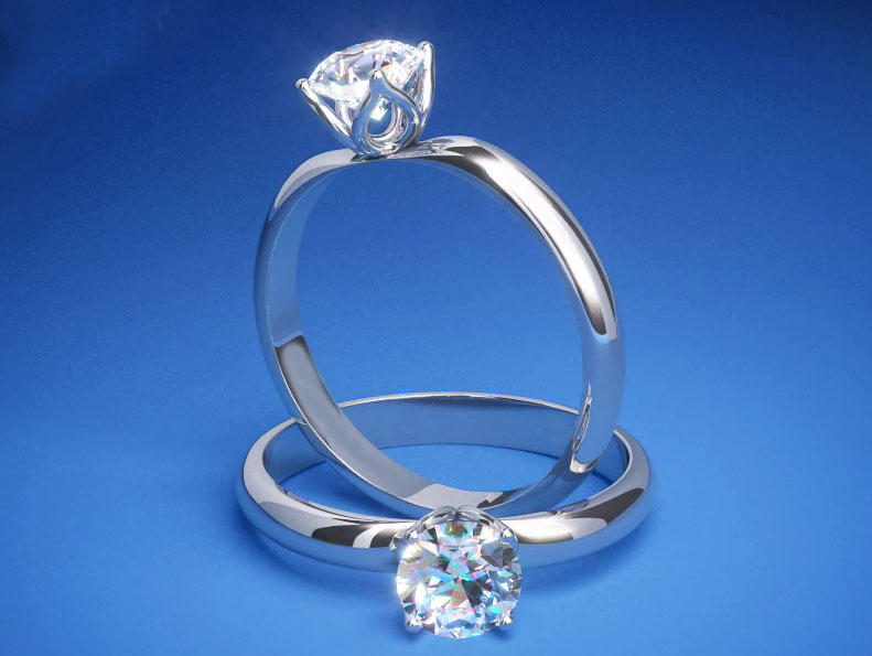 Tulip Solitaire Diamond Engagement Ring in 14K White Gold