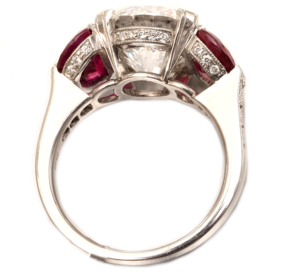 Large Diamond Engagement Ring with Ruby Half moon side stones