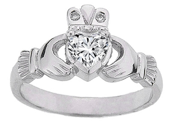Heart Diamond Claddagh Engagement Ring in 14K White Gold
