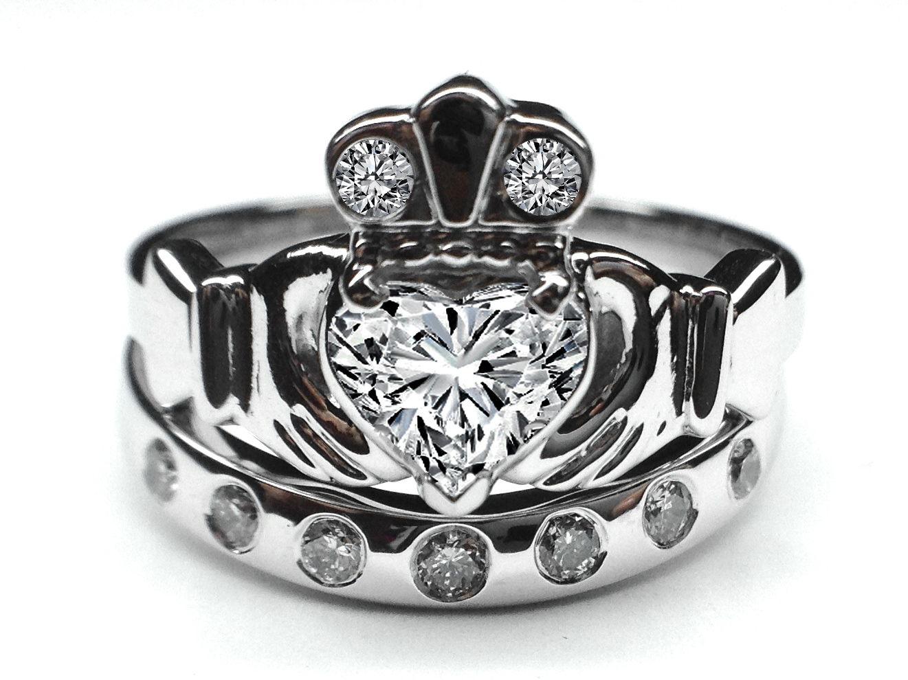 diamond claddagh wedding ring sets engagement ring claddagh engagement ring 3512
