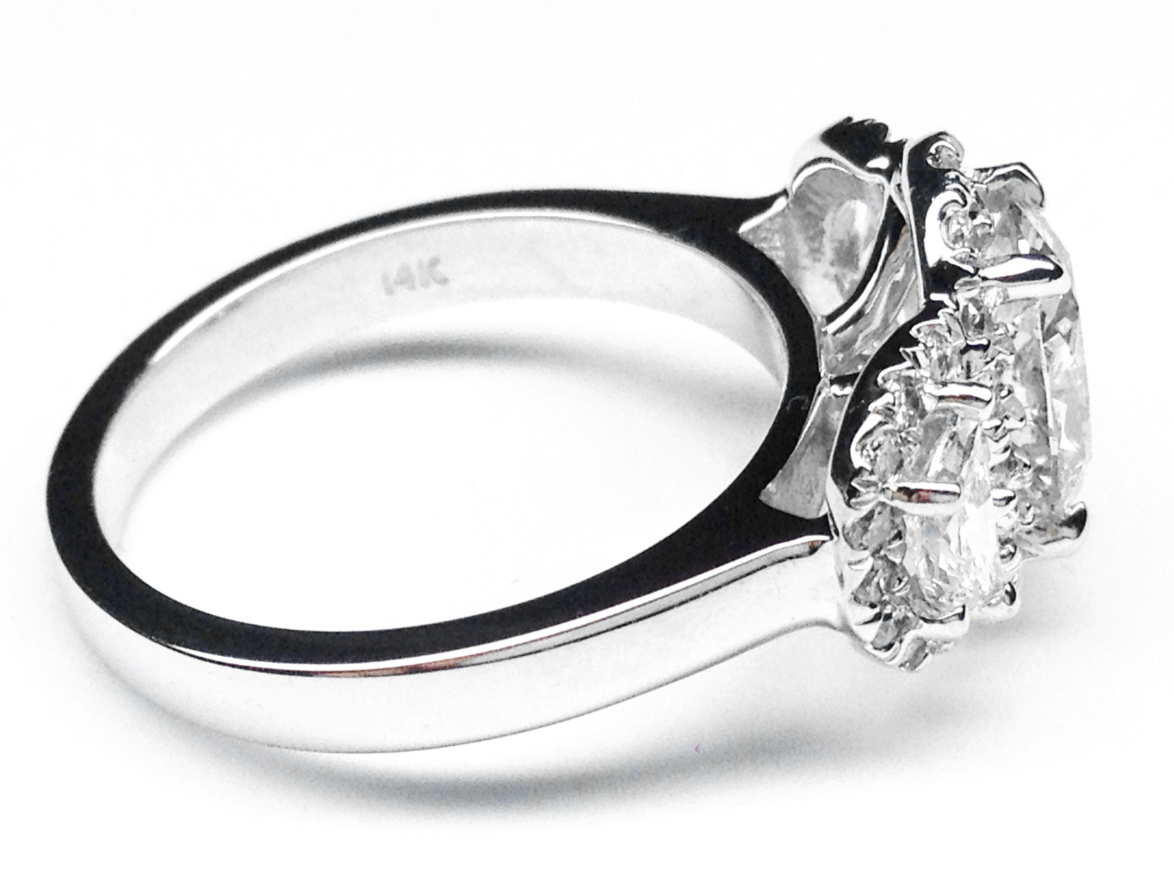 Oval Diamond Halo Engagement Ring Half Moon Side Stones in 14K White Gold