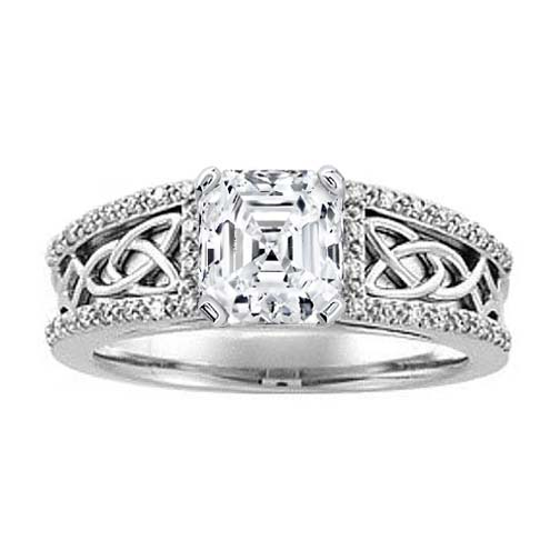 Celtic Knot Asscher Diamond Engagement Ring, Diamond band, White Gold