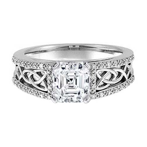 Celtic Knot Asscher Diamond Engagement Ring Pave Diamonds band in 14K White Gold