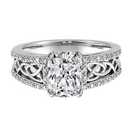 Celtic Knot Cushion Diamond Engagement Ring Pave Diamonds band in 14K White Gold