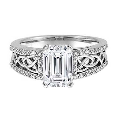 Celtic Knot Emerald Cut Diamond Engagement Ring Pave Diamonds band in 14K White Gold