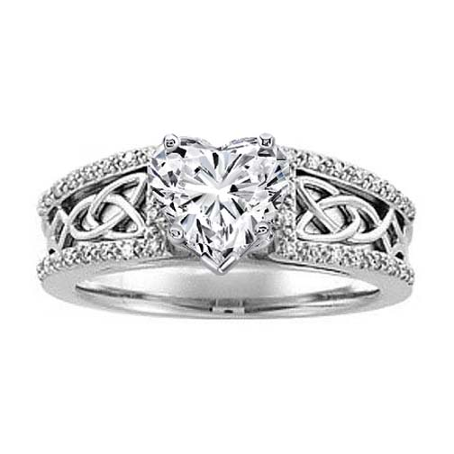 Celtic Knot Heart Shaped Diamond Engagement Ring Pave Diamonds band in 14K White Gold