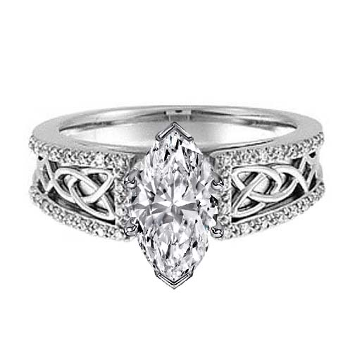 Celtic Knot Marquise Diamond Engagement Ring Pave Diamonds band in 14K White Gold