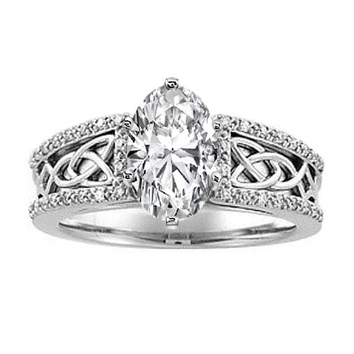 Celtic Knot Oval Diamond Engagement Ring Pave Diamonds band in 14K White Gold