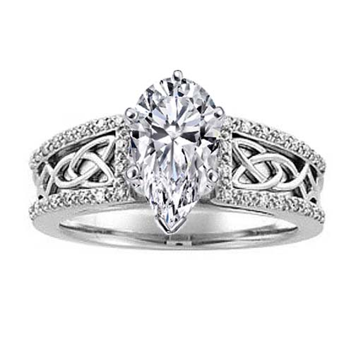 Celtic Knot Pear Shaped Diamond Engagement Ring Pave Diamonds band in 14K White Gold