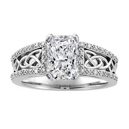 Celtic Knot Radiant Diamond Engagement Ring Pave Diamonds band in 14K White Gold