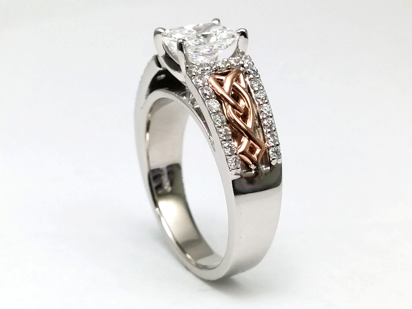 Two Tone Celtic Knot Radiant Diamond Engagement Ring, Diamond band, White & Rose Gold