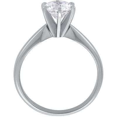 Platinum Six-Claw Solitaire Tapered Engagement Ring Setting